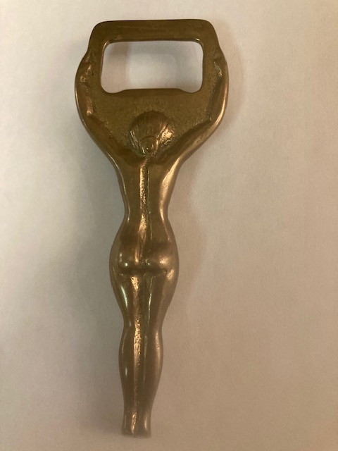 Vintage Brass Bottle Opener - Reverse View